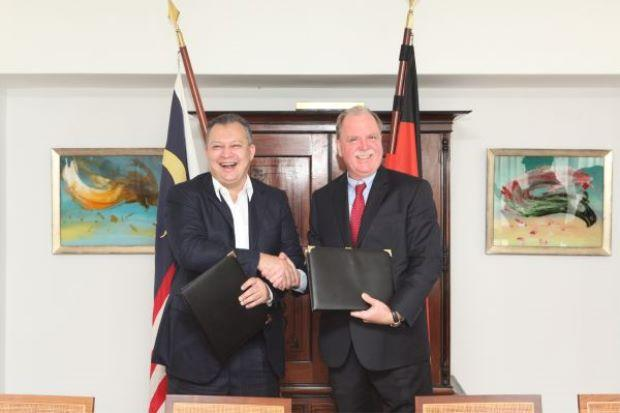 MRCB group managing director Tan Sri Mohamad Salim Fateh Din and the German Ambassador, Holger Michael at the signing of the sale and purchase agreement for MRCB's purchase of the German Embassy land for nearly RM260 million <br /> photo source and credit towww.thestar.com.my