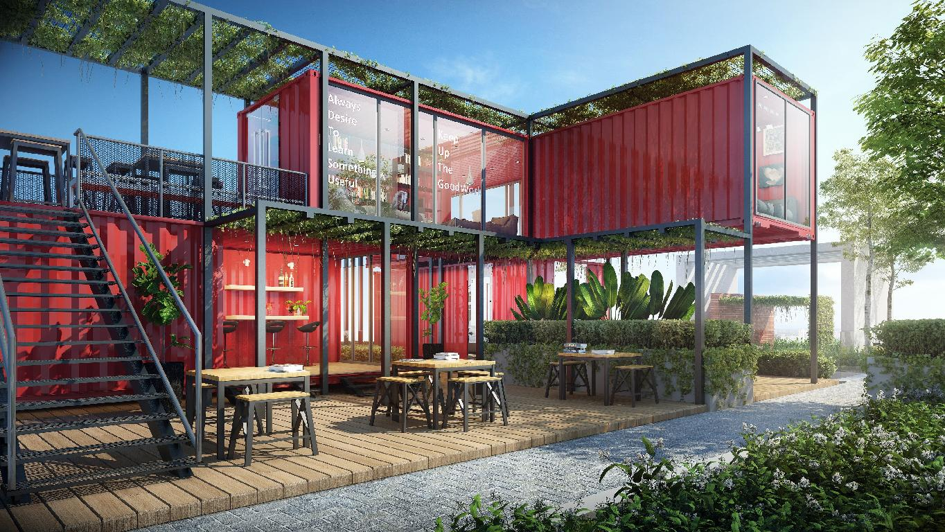 Union Suites' sky container and lounge <br />