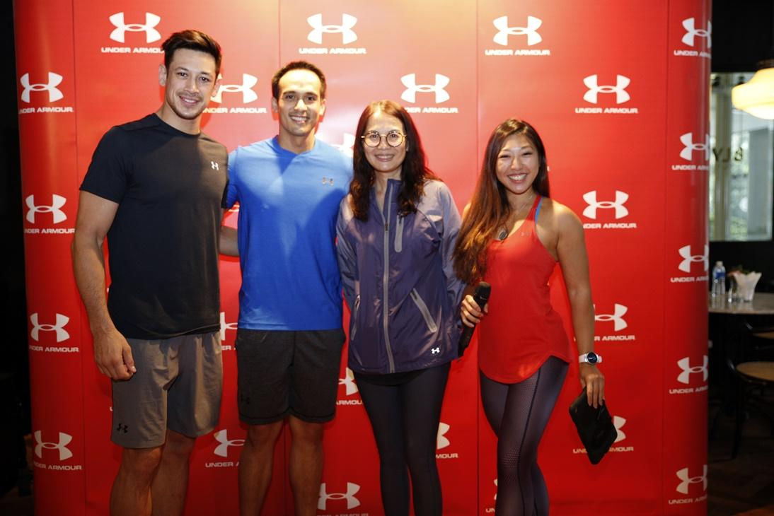 Encik SM Faliq SM Nasimuddin, Deputy Executive Chairman and Group Managing Director of Naza TTDI Group, Jessica Tan, Country Manager of Under Armour Sports Malaysia Sdn Bhd, Under Armour Brand Athelets, Peter Davis and Linora Low <br />